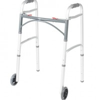 Deluxe Two Button Folding Walker with 5″ Wheels