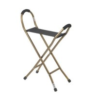 Drive Medical Folding Aluminum Cane with Sling Style Seat, Bronze