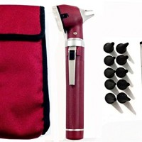 Fiber Optic Mini Otoscope Set – Medical Diagnostic Examination Set – Pocket Size – (MAROON)