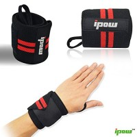 Ipow Adjustable Weight Lifting Training Wrist Straps Support Braces Wraps Belt Protector for Weightlifting Crossfit Powerlifting Bodybuilding – For Women and Men,set of 2