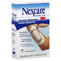 Nexcare Absolute Waterproof Premium Adhesive Pad, 2-3/8″ x 4″-5ct (Pack of 2)