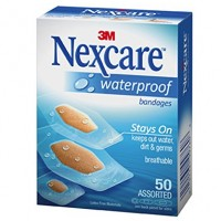 Nexcare Waterproof Clear Bandage Assorted Sizes, 50 Count Package