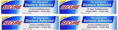 Secure Denture Bonding Cream by Dentek – 1.4 Ounces (Pack of 4) (1.4 oz)