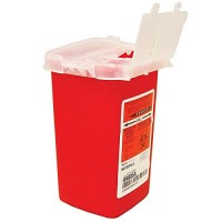 Sharps Container Biohazard Needle Disposal 1 Qt Size – 2 Pack