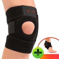 Ultra Flex Athletics | Best Knee Brace & Support Open Patella,One Size Adjustable, Neoprene good Sports Compression | relieves joint pain and treats Arthritis, Acl Tear, Meniscus Tear, Tendonitis | Bonus Ankle Brace