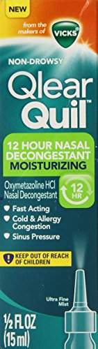 Vicks QlearQuil 12 Hour Cold & Allergy Sinus and Nasal Moisturizing Decongestant Spray 0.5 Fl Oz