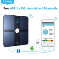 Bluetooth-Body-Fat-Scale-Lumsing-Smart-Body-Fat-Monitor-400lb-Measures-Body-Weight-Body-Water-Body-Fat-BMI-BMRKCAL-Muscle-Mass-Bone-Mass-and-Visceral-Fat-with-App-for-iOS-Android-Devices-0-0