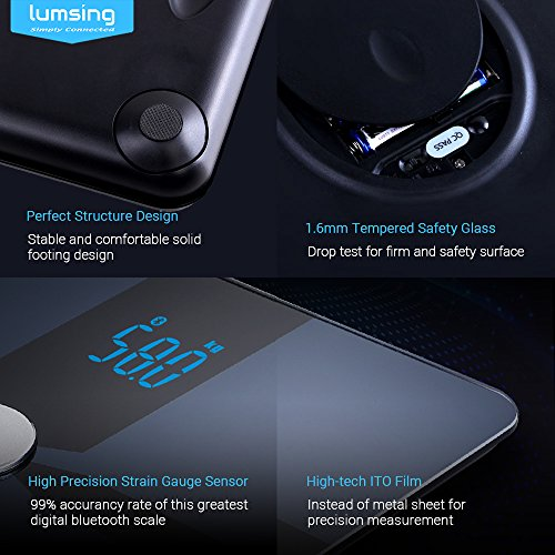 Bluetooth-Body-Fat-Scale-Lumsing-Smart-Body-Fat-Monitor-400lb-Measures-Body-Weight-Body-Water-Body-Fat-BMI-BMRKCAL-Muscle-Mass-Bone-Mass-and-Visceral-Fat-with-App-for-iOS-Android-Devices-0-5