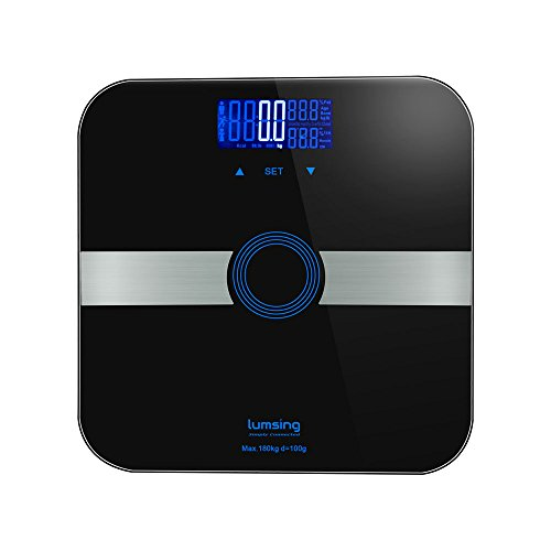 Body-Fat-ScaleLumsing-Smart-Digital-Body-Weight-Monitor-High-Percision-400lbs-Capacity-Measures-Weight-Body-Fat-BMI-Water-Muscle-and-Bone-Mass-Black-0