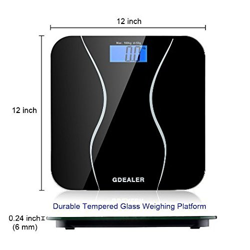 GDEALER-Digital-Bathroom-Scale-400lb180kg-Body-Weight-Bathroom-Scale-Elegant-Black-6mm-Tempered-Glass-Step-On-Technology-High-Precision-Extra-Large-Lighted-Display-0-0