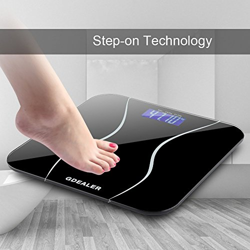 GDEALER-Digital-Bathroom-Scale-400lb180kg-Body-Weight-Bathroom-Scale-Elegant-Black-6mm-Tempered-Glass-Step-On-Technology-High-Precision-Extra-Large-Lighted-Display-0-2