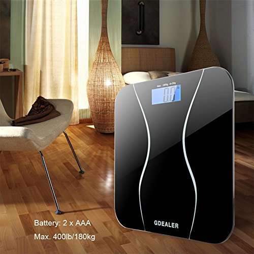 GDEALER-Digital-Bathroom-Scale-400lb180kg-Body-Weight-Bathroom-Scale-Elegant-Black-6mm-Tempered-Glass-Step-On-Technology-High-Precision-Extra-Large-Lighted-Display-0-5