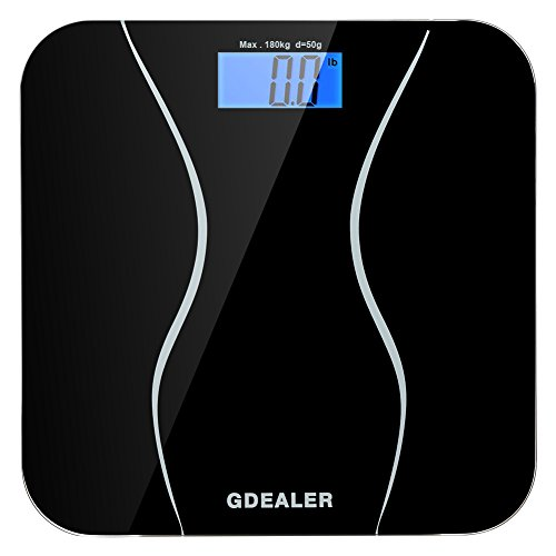 GDEALER-Digital-Bathroom-Scale-400lb180kg-Body-Weight-Bathroom-Scale-Elegant-Black-6mm-Tempered-Glass-Step-On-Technology-High-Precision-Extra-Large-Lighted-Display-0