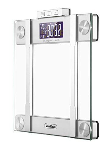 VonHaus-Body-Fat-Scale-BMI-Weight-Scale-with-Body-Composition-Analyser-Hydration-Monitor-400lb-Weight-Capacity-SilverGlass-Bathroom-Weight-Scales-0-1