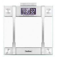 VonHaus Body Fat Scale – BMI Weight Scale with Body Composition Analyser, Hydration Monitor, 400lb Weight Capacity, Silver/Glass Bathroom Weight Scales