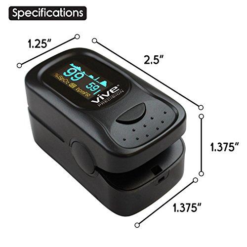 Finger Pulse Oximeter by Vive – Best SpO2 Device for Blood Oxygen  Saturation Level Reading – Fingertip Oxygen Meter w/ Alarm & Pulse Rate  Monitor –